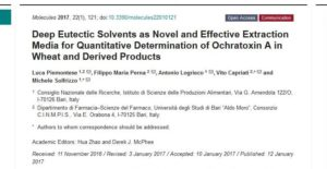 Deep Eutectic Solvents as Novel and Effective Extraction Media for Quantitative Determination of Ochratoxin A in Wheat and Derived Products Image